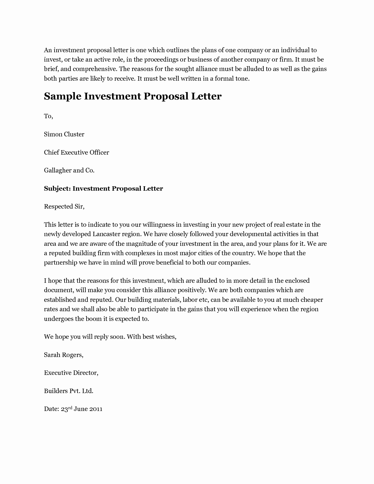 Best S Of Investment Proposal Examples Investment