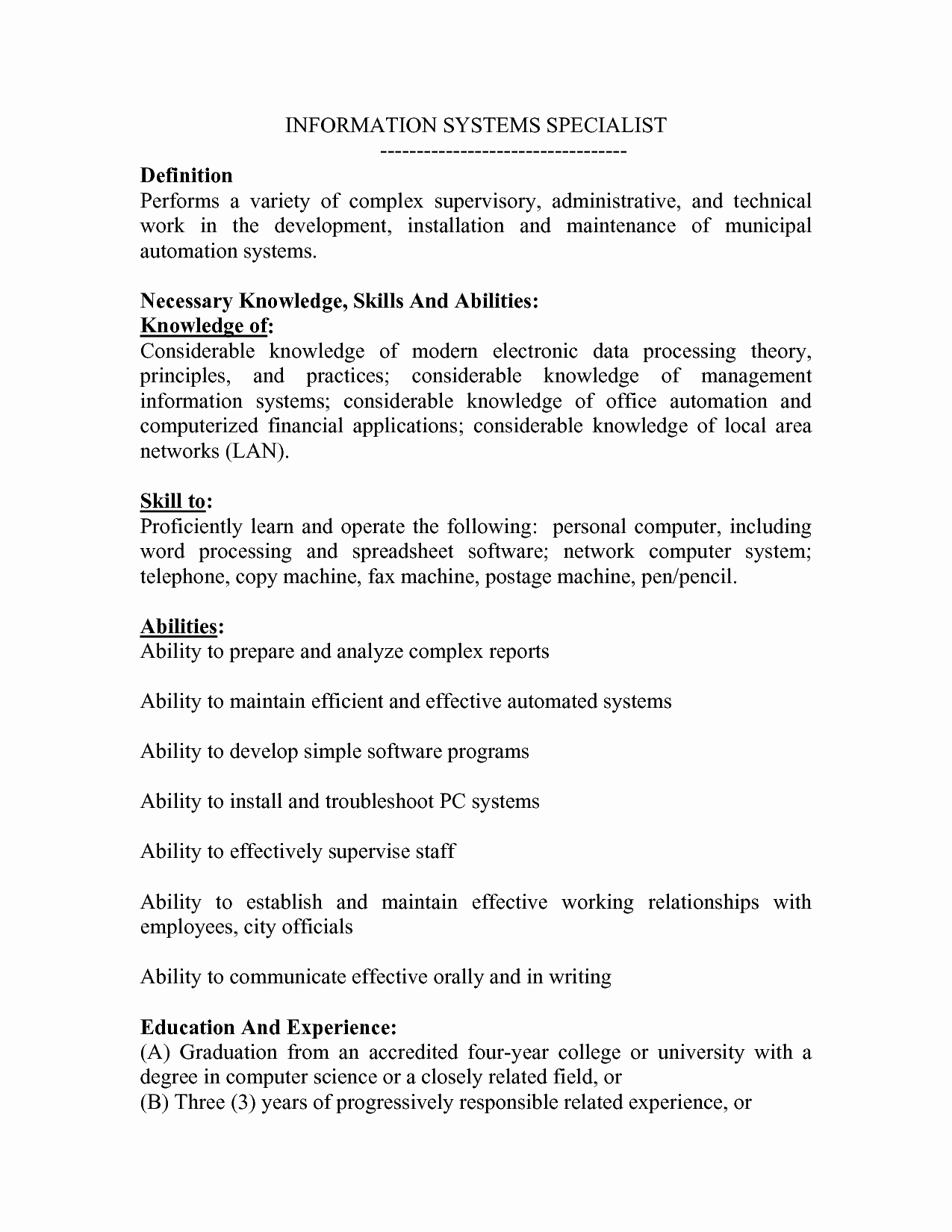 Best S Of Ksa Examples Skills and Abilities Resume