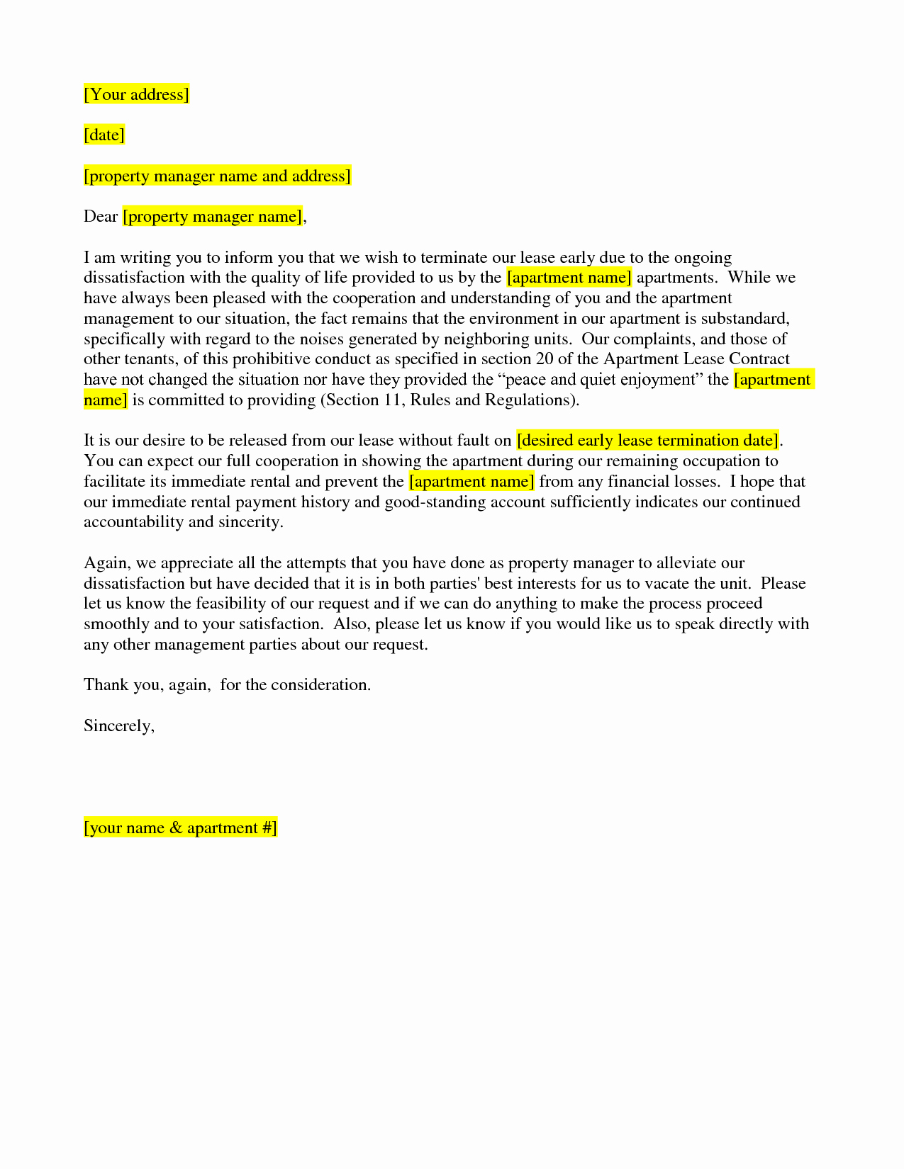 Best S Of Lease Termination Letter Lease
