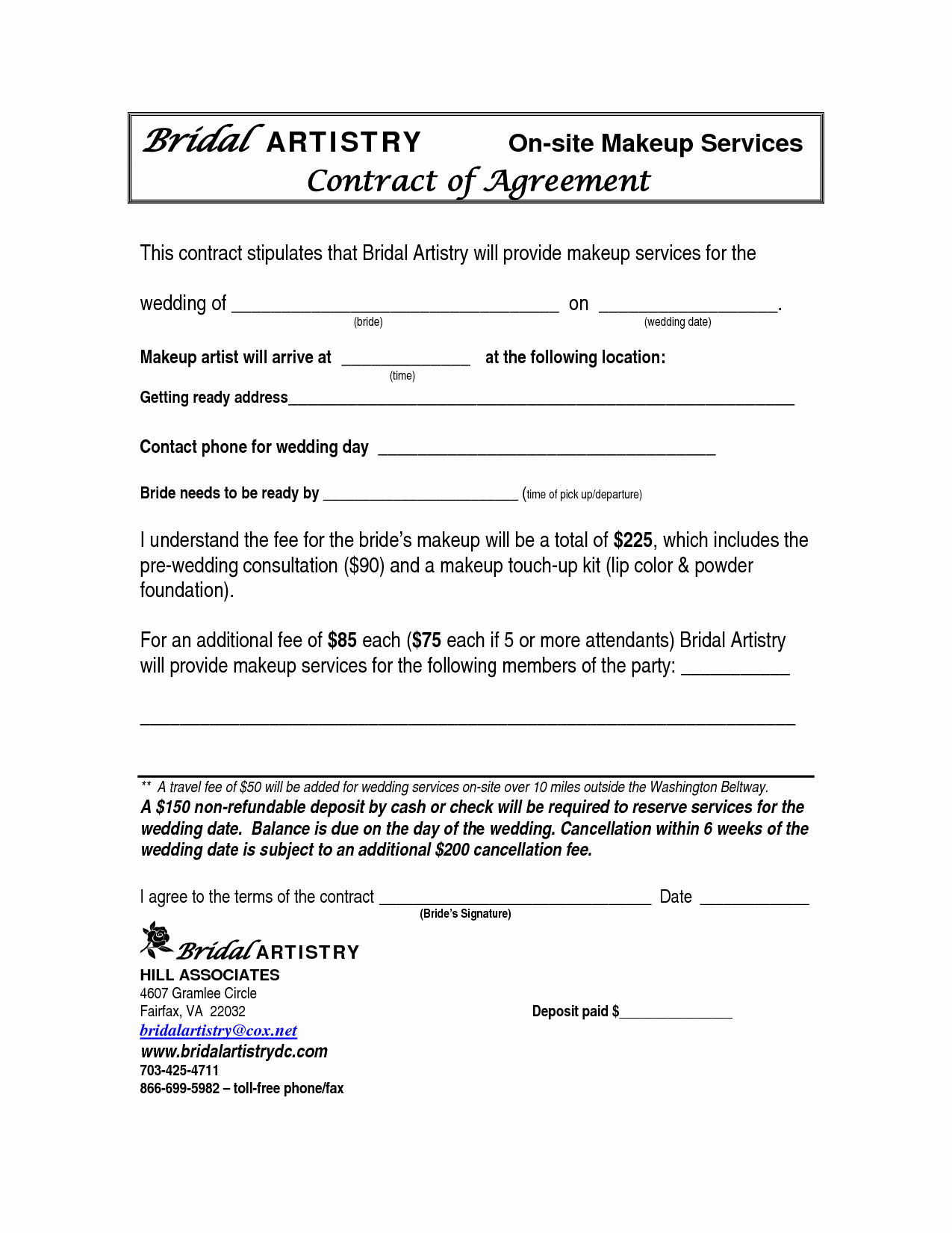 Best S Of Makeup Artist Bridal Contract Printable