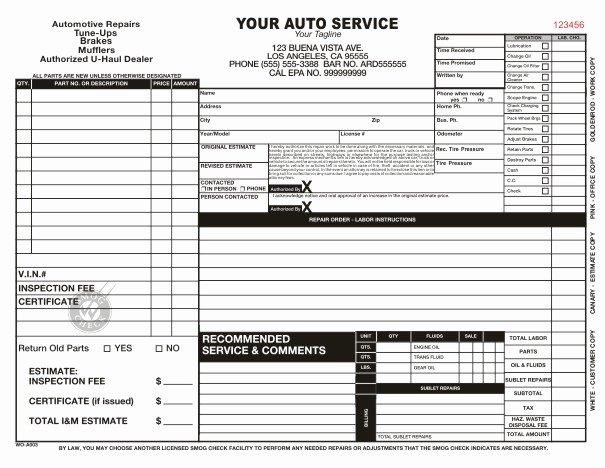 Best S Of Mechanic Shop Work order Template Repair