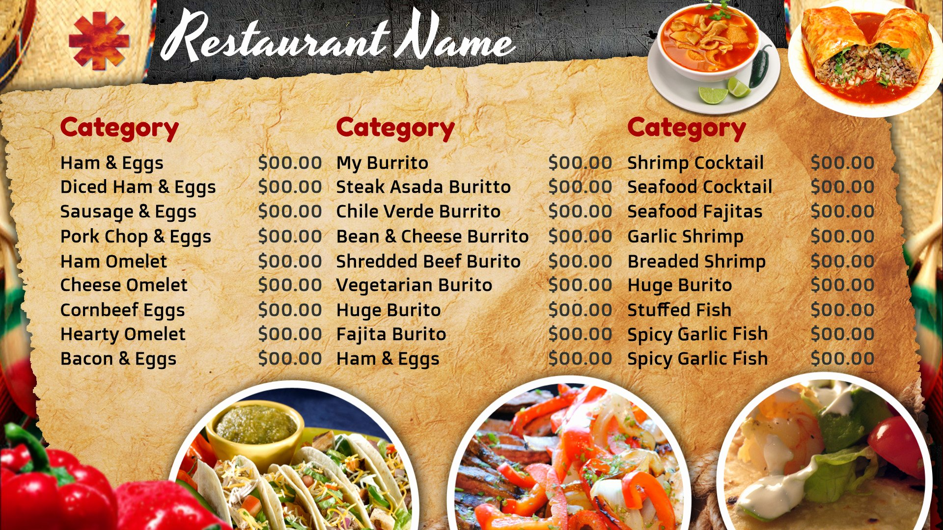 Best S Of Mexican Restaurant Menu Template Blank