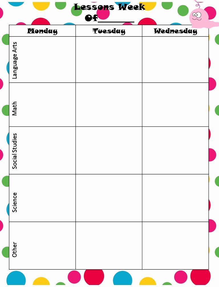 Best S Of Monthly Lesson Plan Template Printable