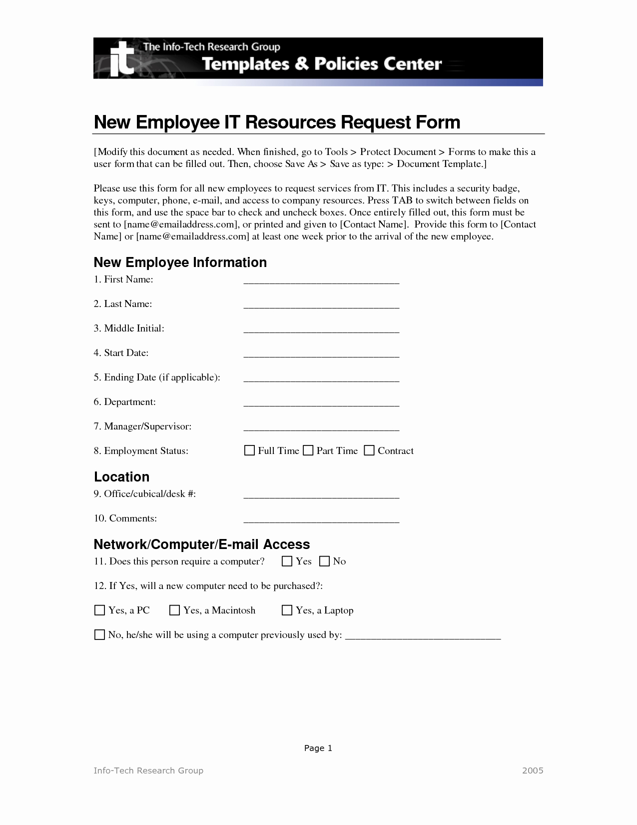 Best S Of New It Project Request form Project