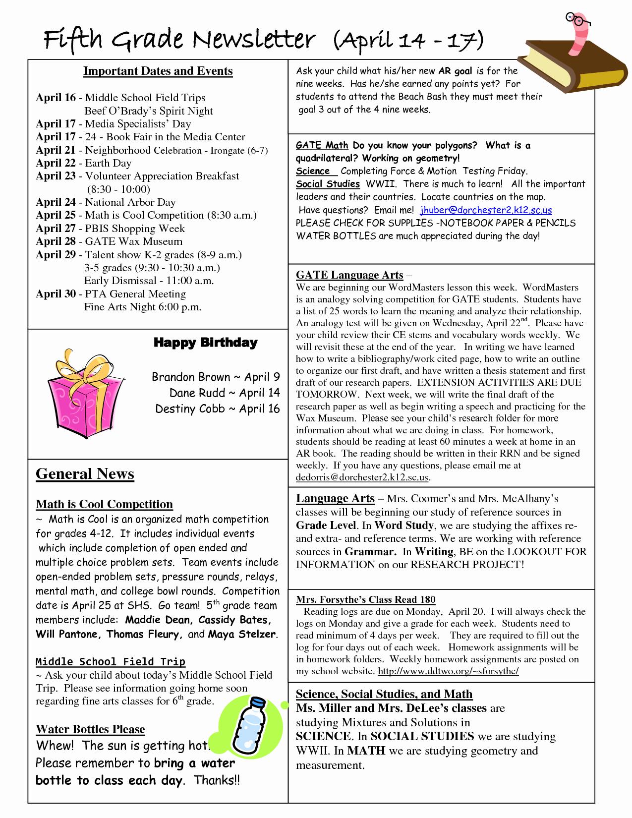 Best S Of Newsletter Examples Grade 1 Classroom