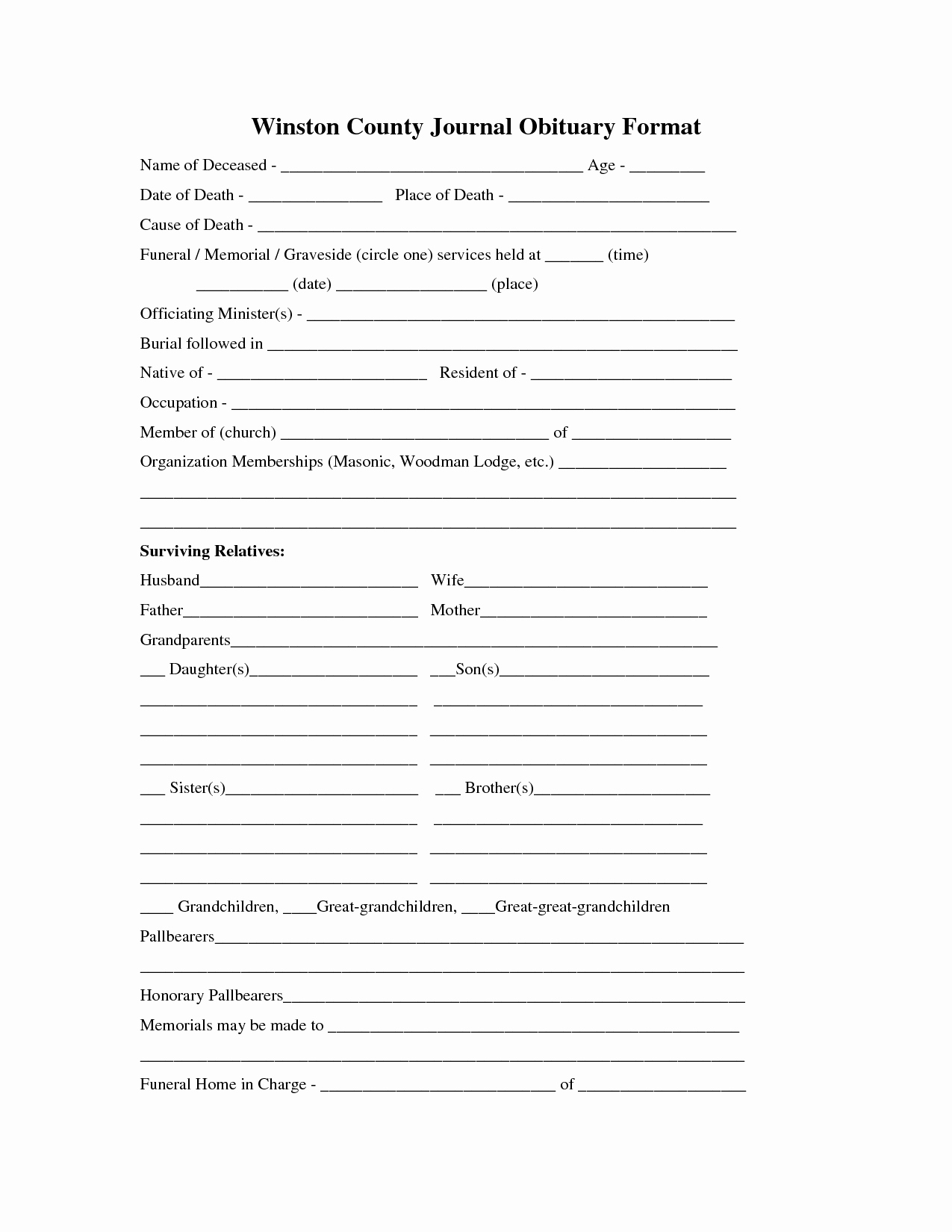 Best S Of Obituary Fill In form Fill In the Blank