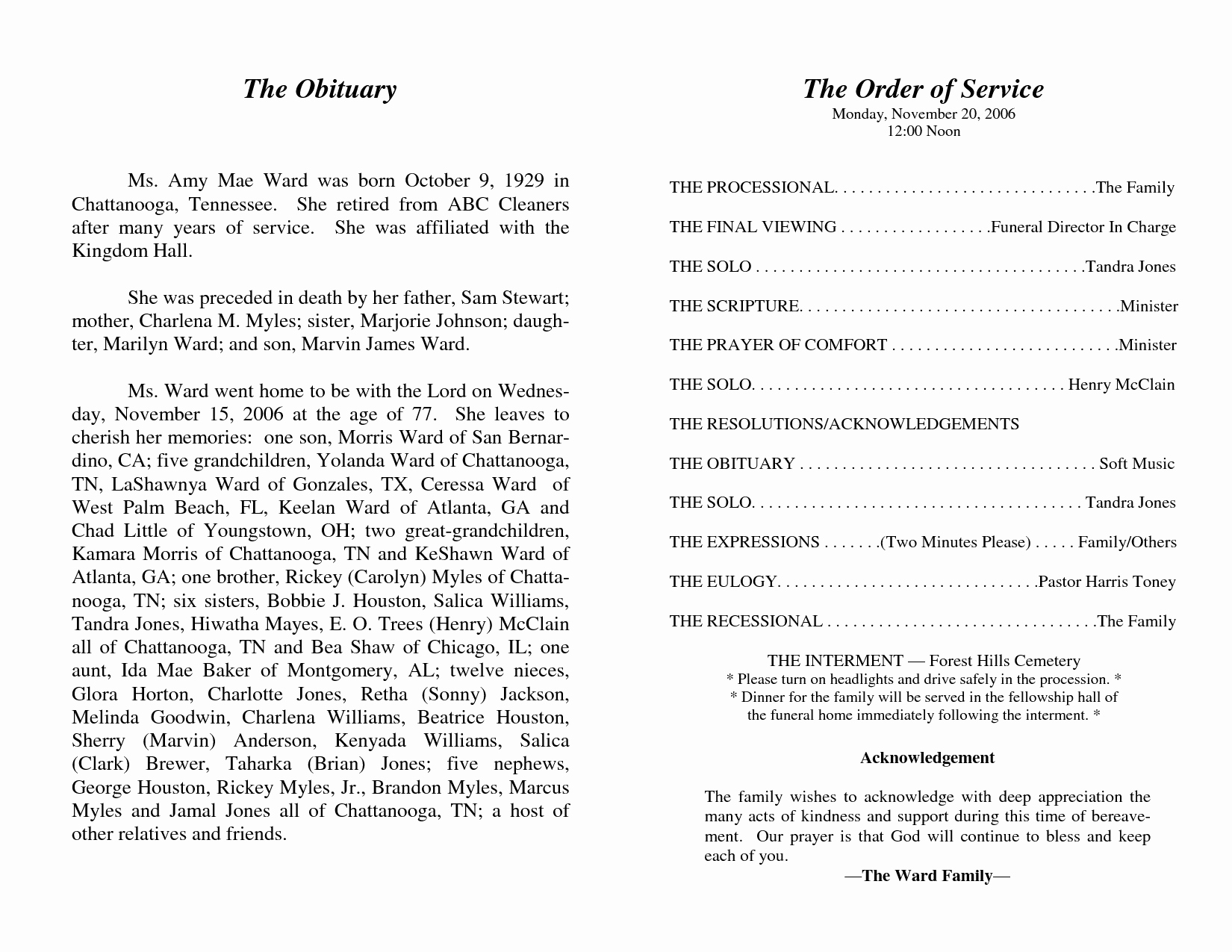 Best S Of Obituary Funeral Programs Free Sample