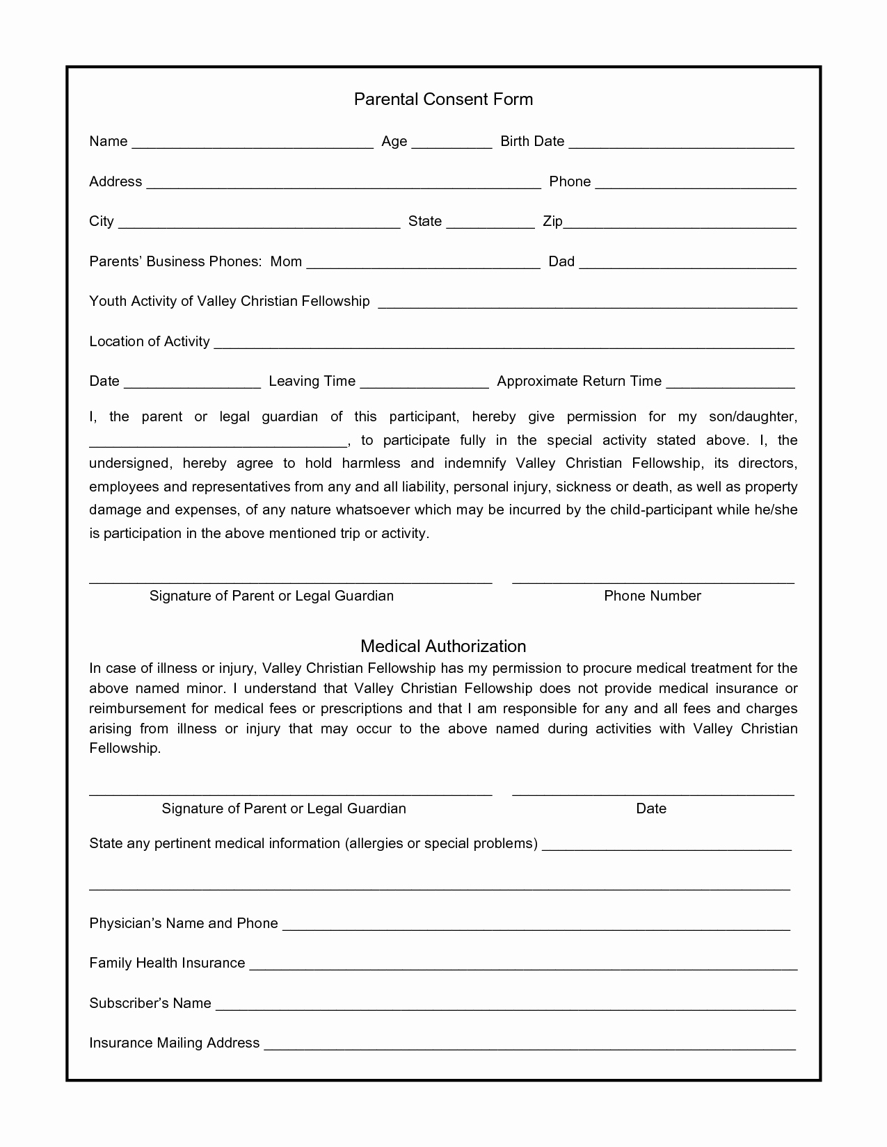 Best S Of Parental Consent form Template Parental