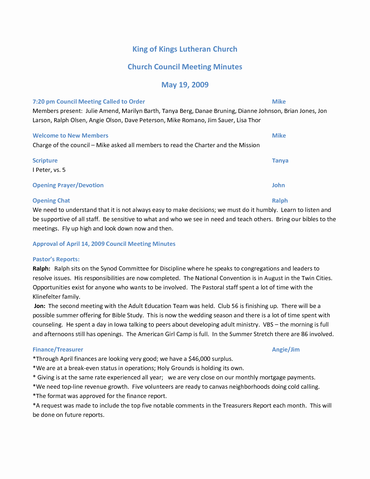 Best S Of Pentacostal Church Meeting Minutes Template