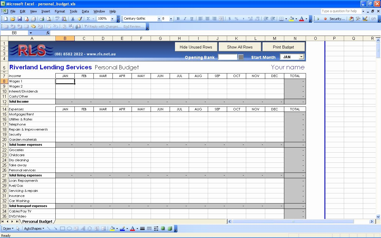 Best S Of Personal Bud Template Excel 2010