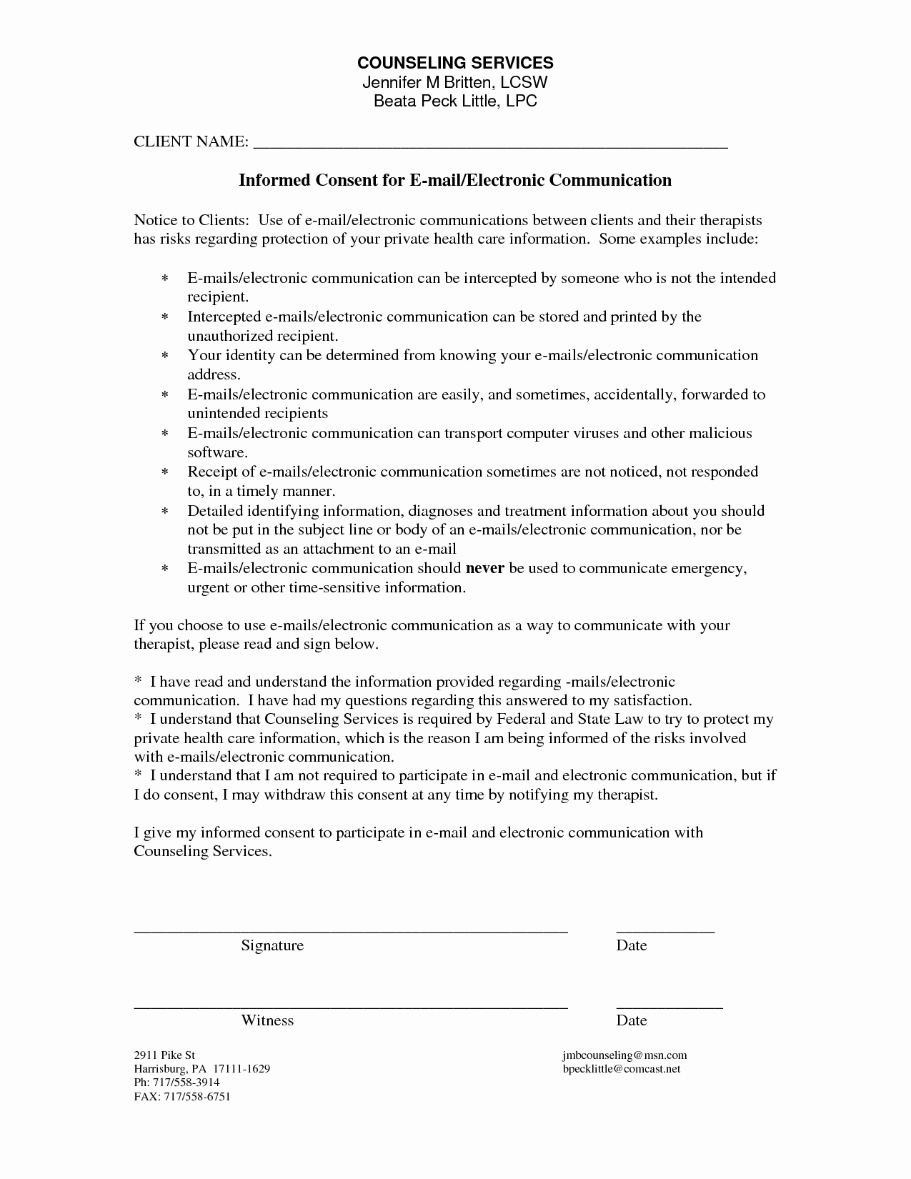 Best S Of Printable Counseling Consent forms