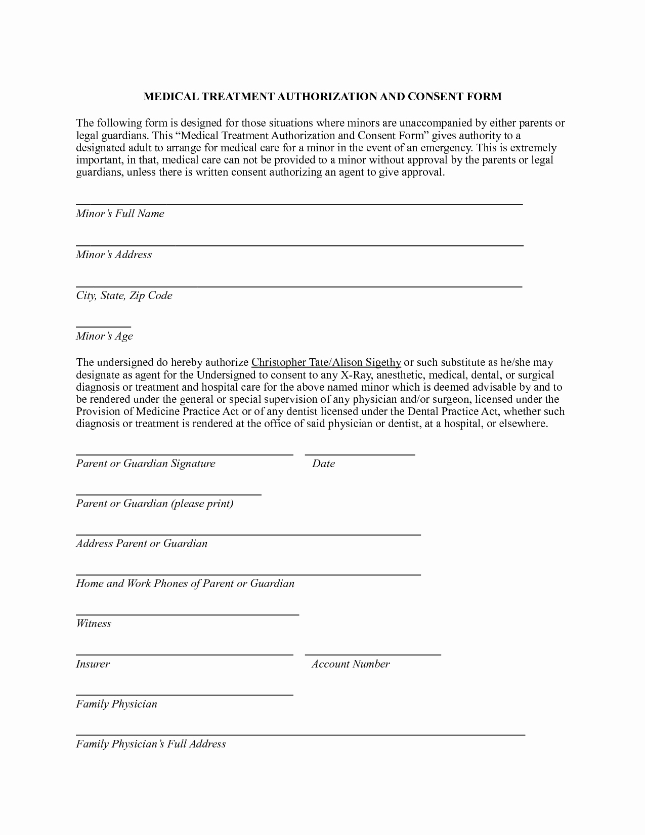 Best S Of Printable Medical Consent form Free