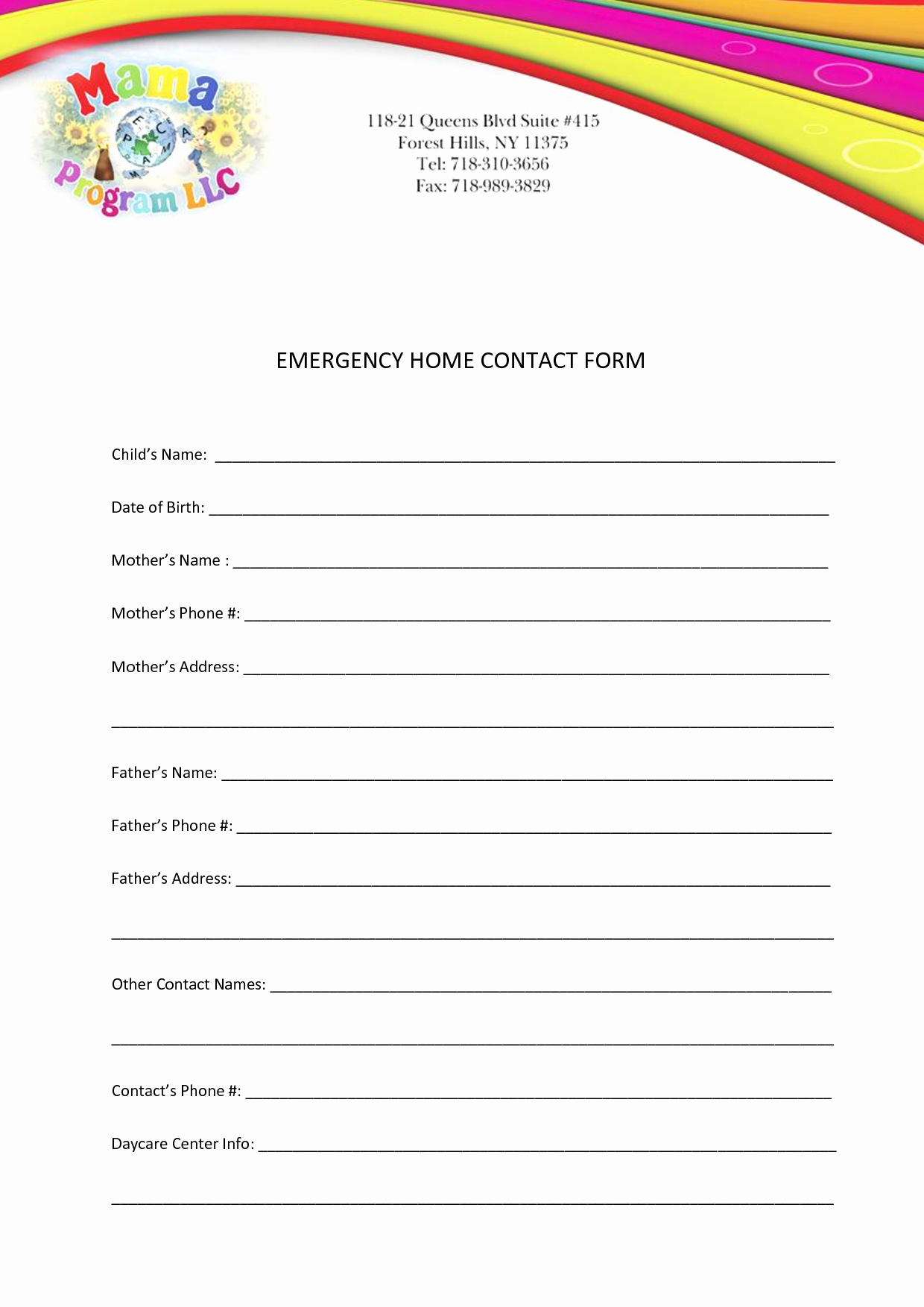 Best S Of Printable Personal Contact Template