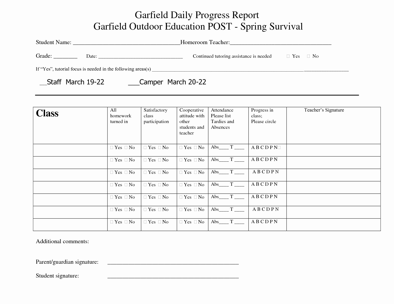 Best S Of Printable Progress Report Cards Preschool