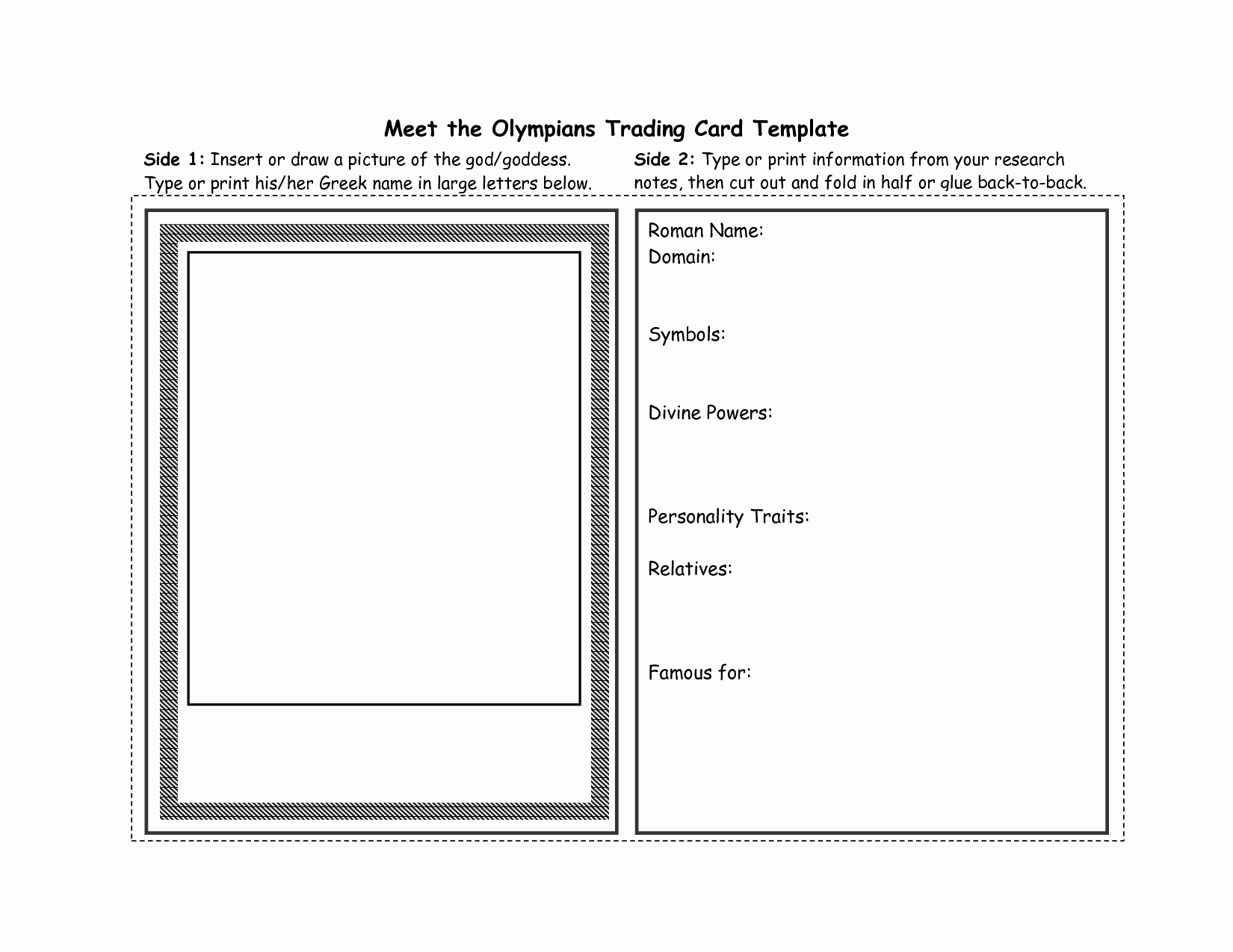 Best S Of Printable Trading Card Template Greek God
