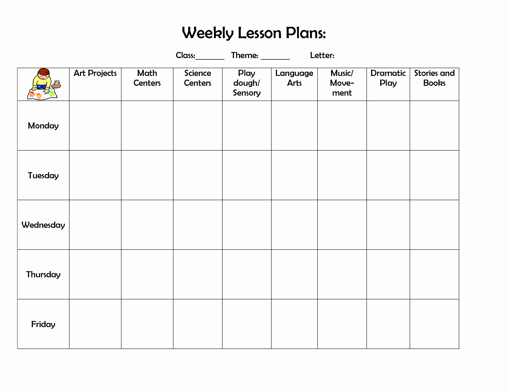 Best S Of Printable Weekly Preschool Lesson Plans