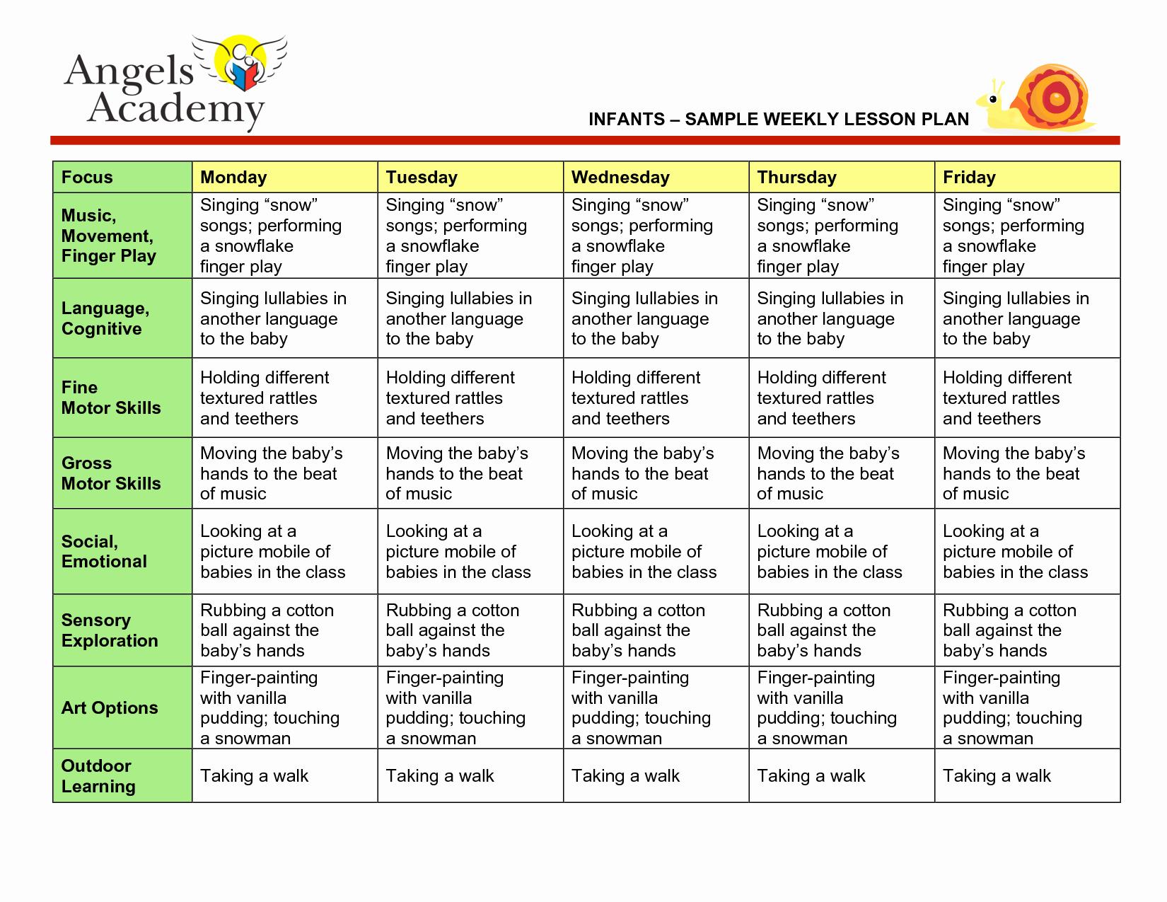 Best S Of Printable Weekly Preschool Lesson Plans