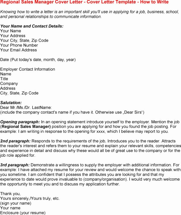 Best S Of Regional Manager Cover Letter Sample