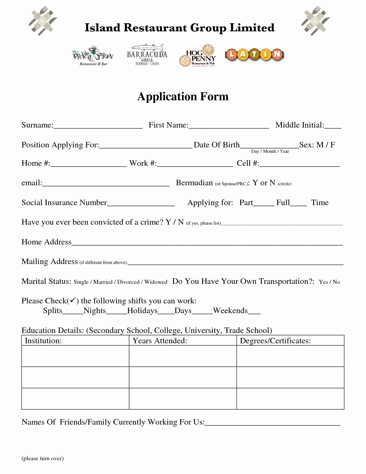 Best S Of Restaurant Job Application form Template
