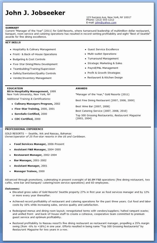 Best S Of Restaurant Manager Resume Examples