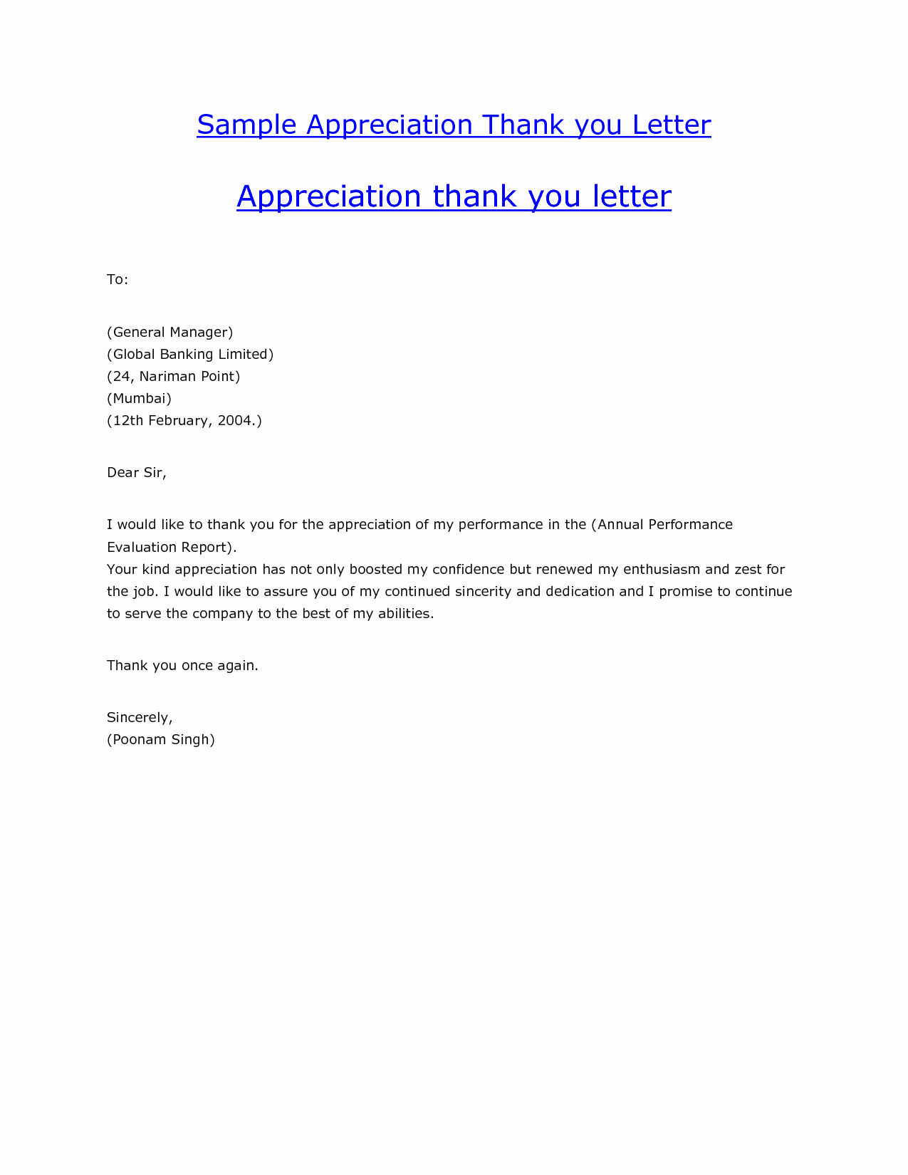 Best S Of Sample Gift Thank You Letters Appreciation