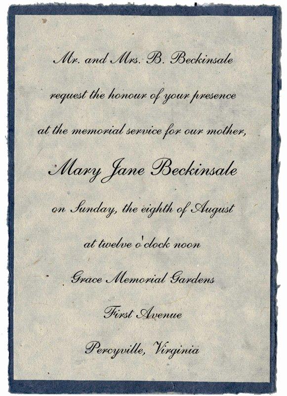 Best S Of Sample Memorial Service Invitation Wording