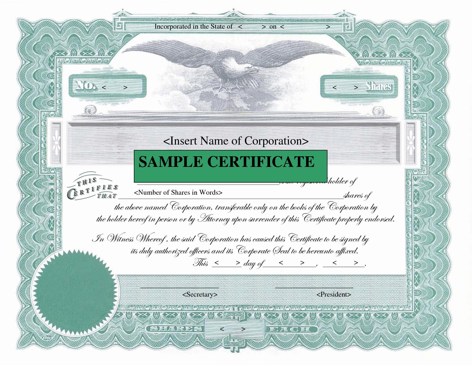 Best S Of Sample Stock Certificate Printable Stock