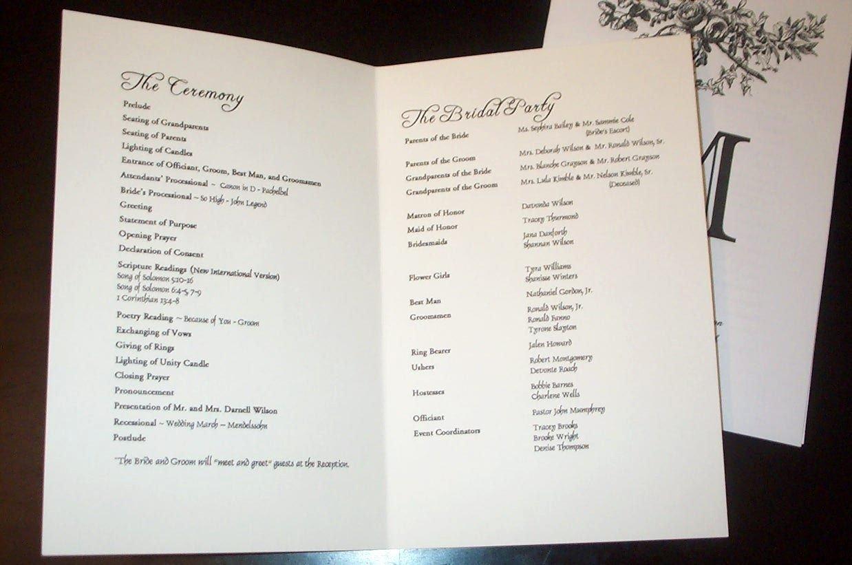 Best S Of Sample Wedding Programs Sample Wedding