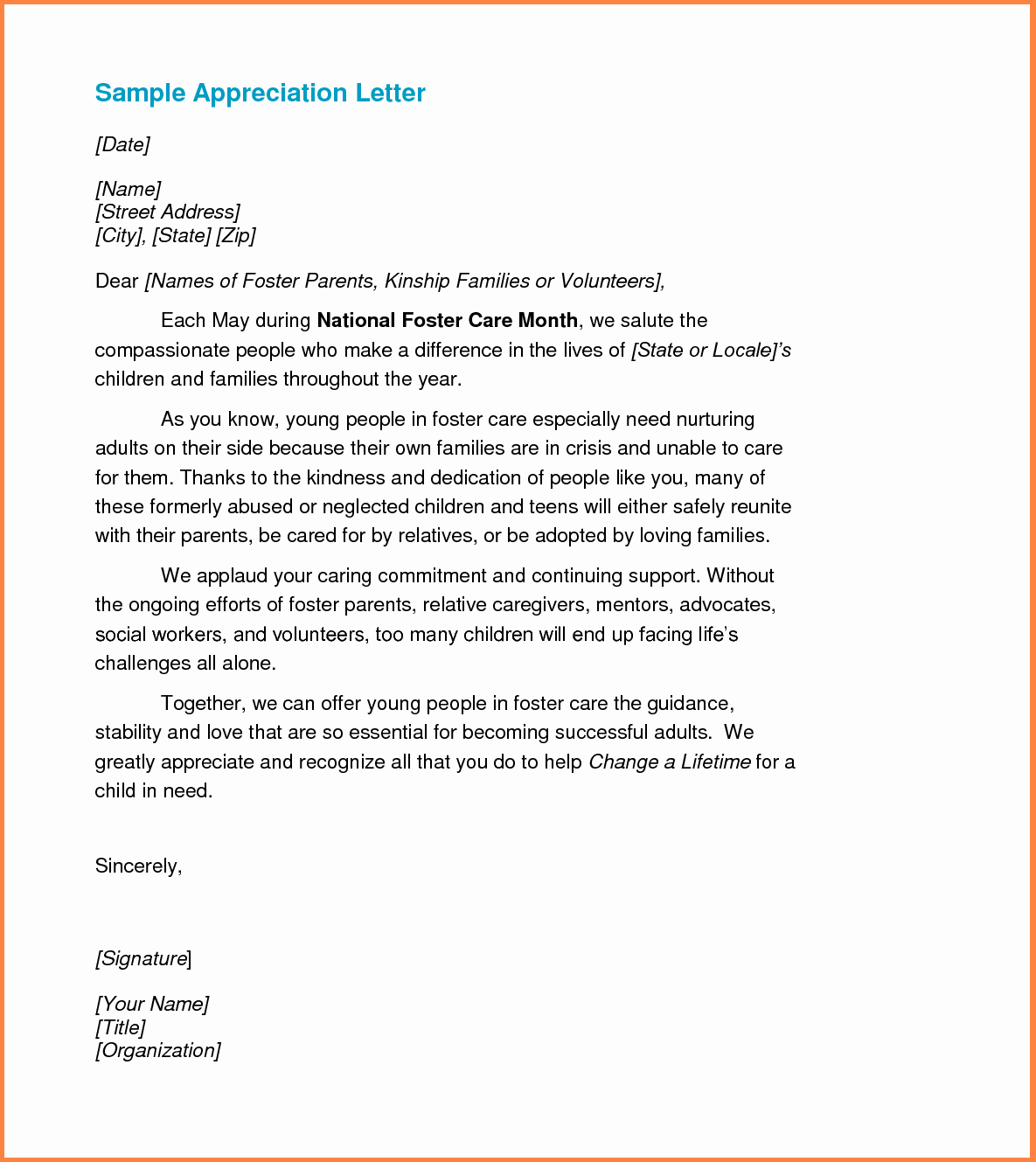 Best S Of Samples Praise Appreciation Letters