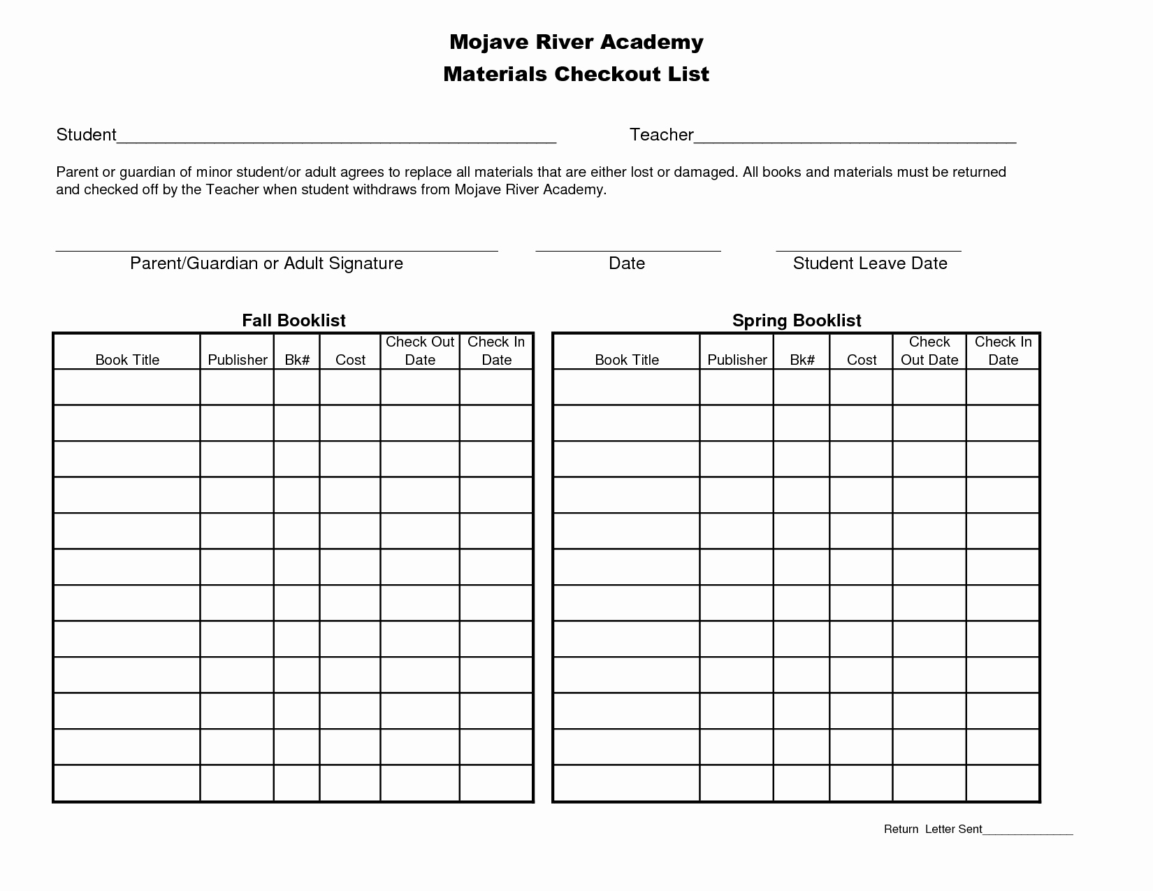 Best S Of School Check Out Equipment Template