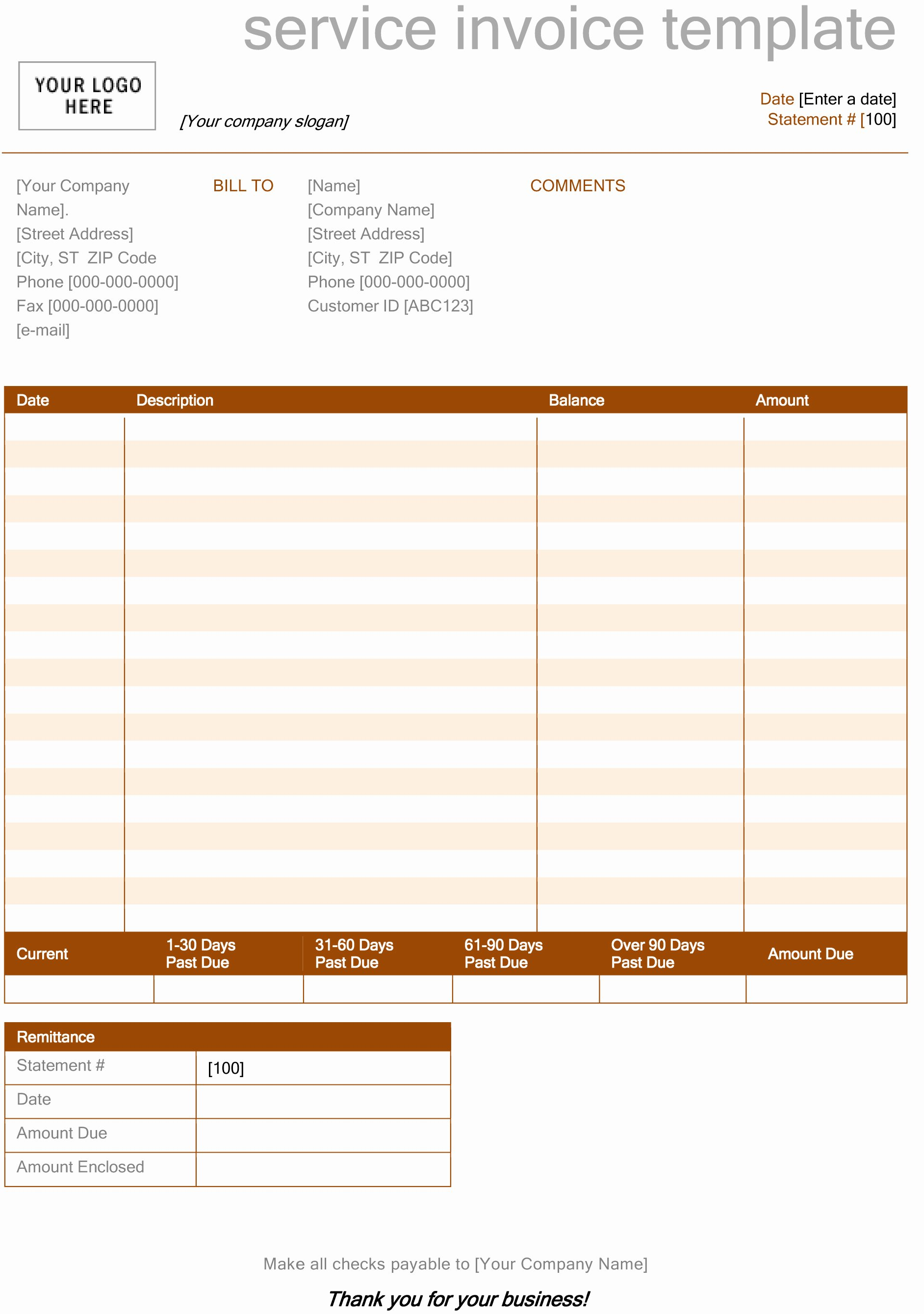 post service invoice template word