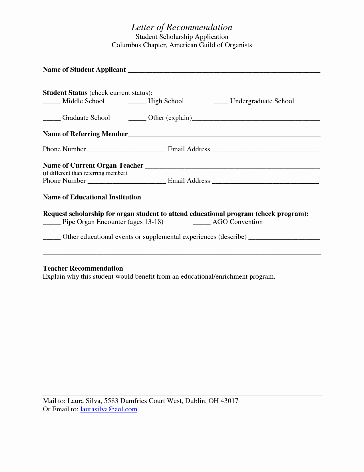 Best S Of Student Re Mendation form Template