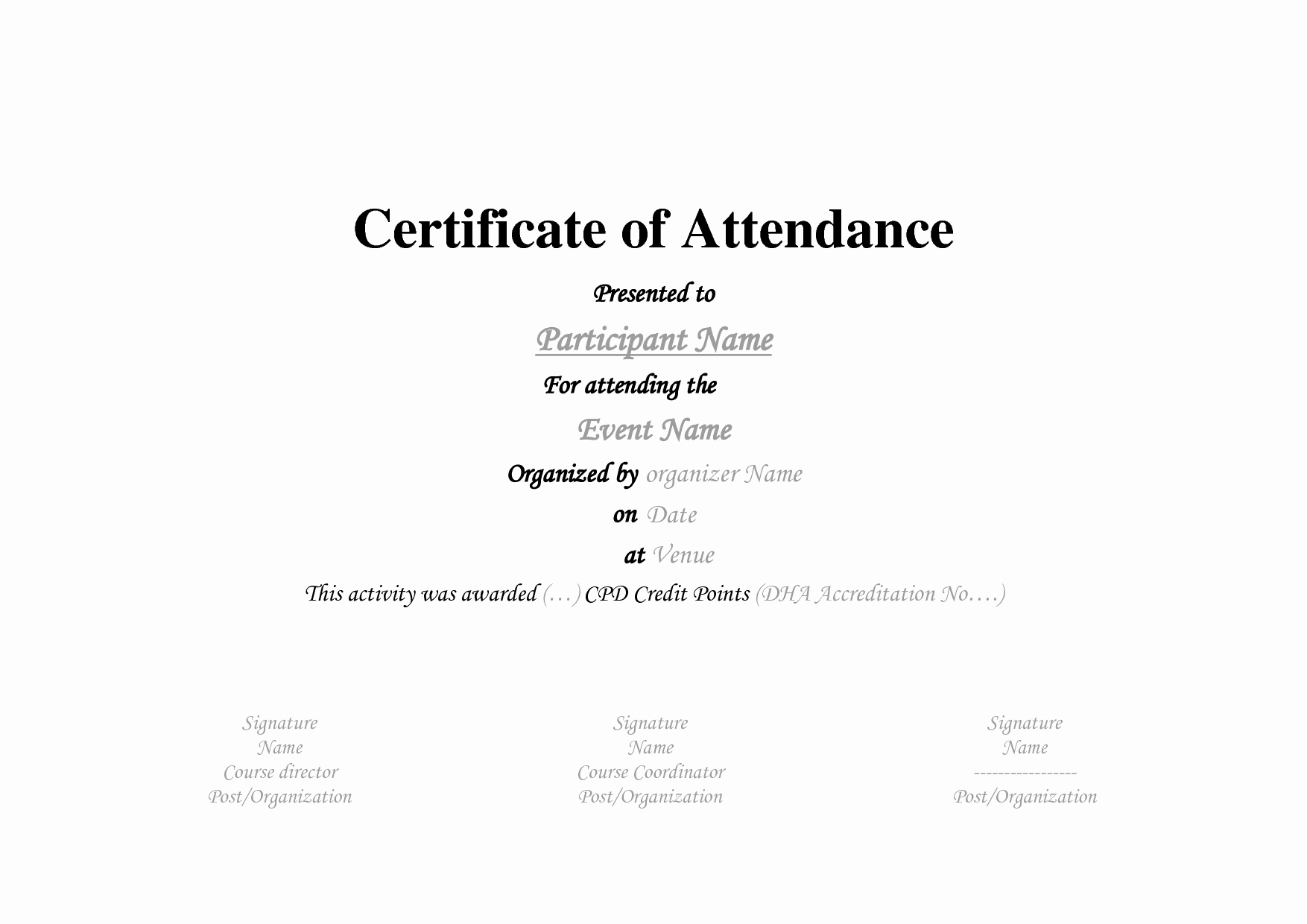 Best S Of Template Certificate attendance