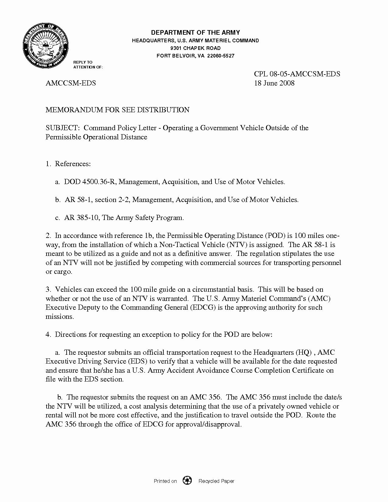 Best S Of U S Army Memorandum Template Army