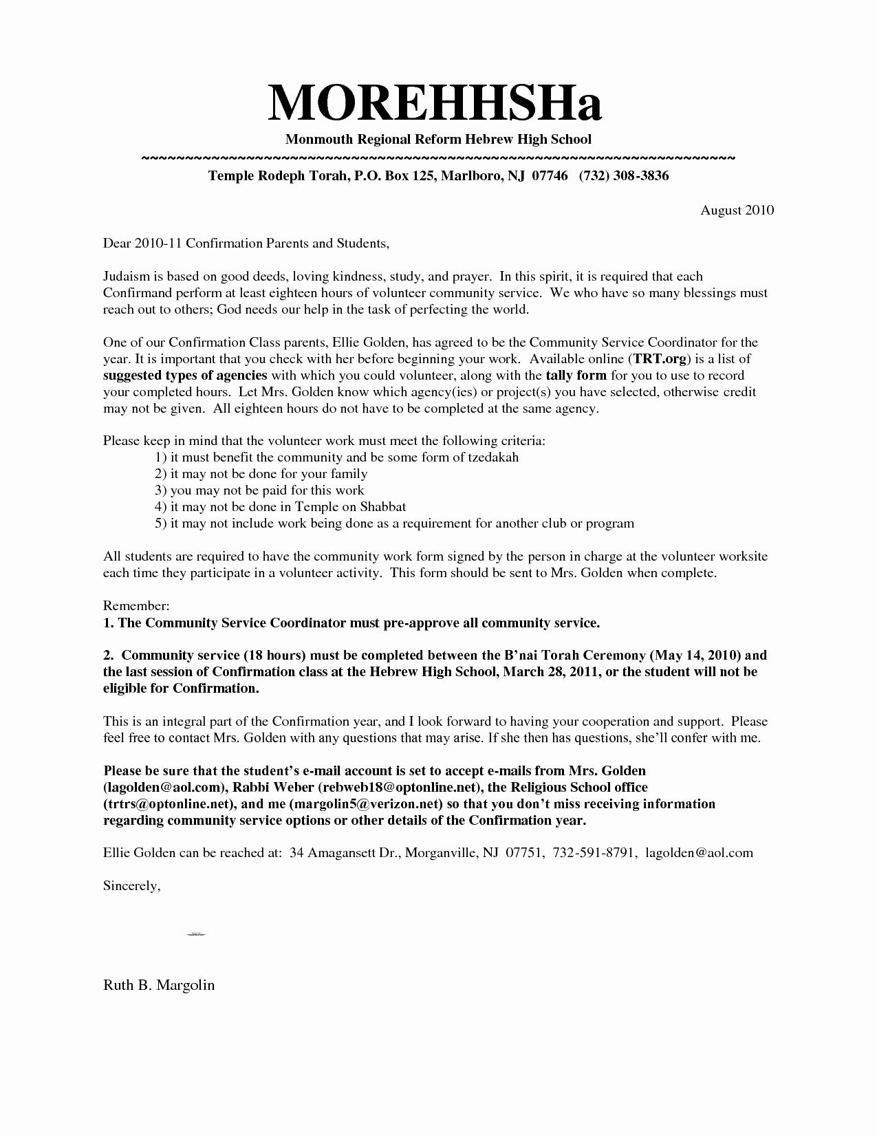 Best S Of Verification Volunteer Hours Letter