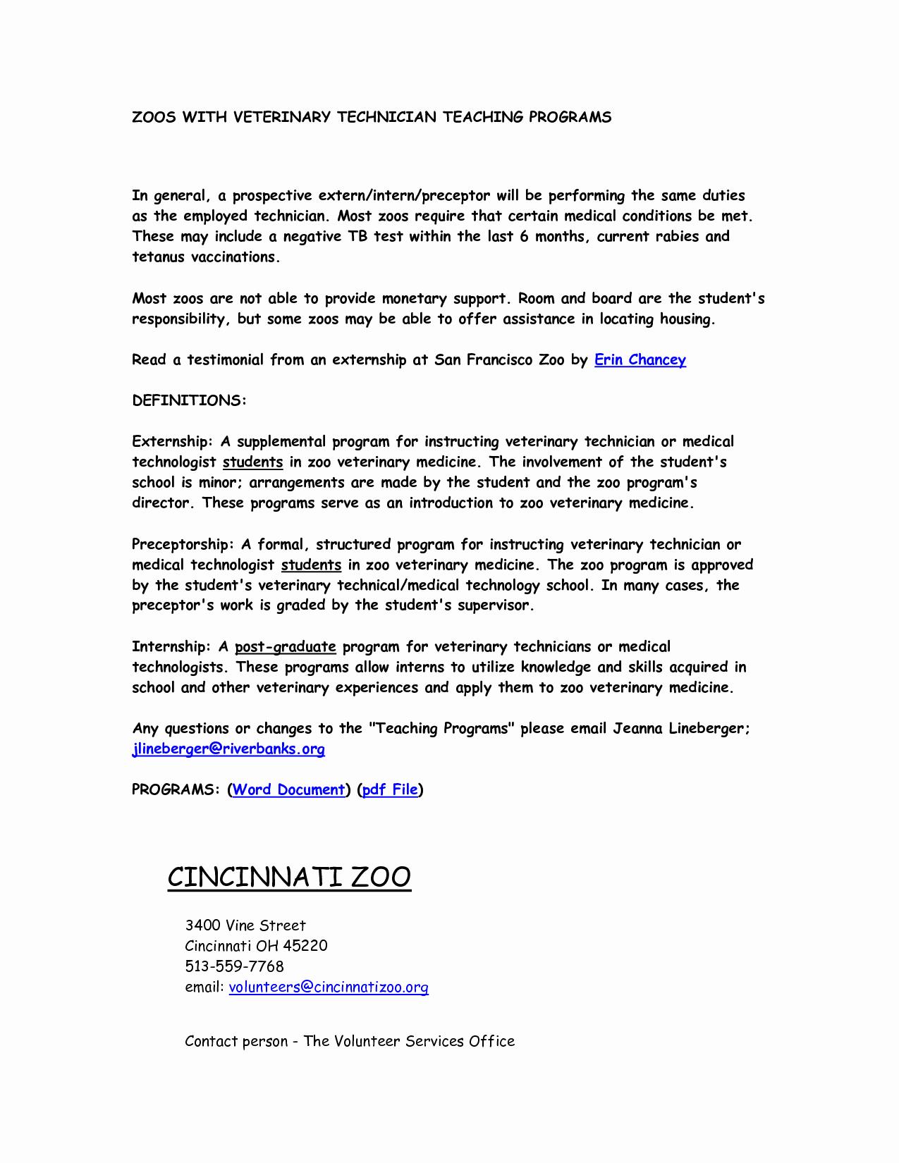 Best S Of Veterinary Technician Resume Cover Letter