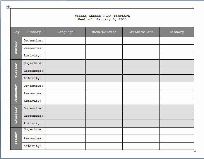 Best S Of Weekly Lesson Plan Book Template Free