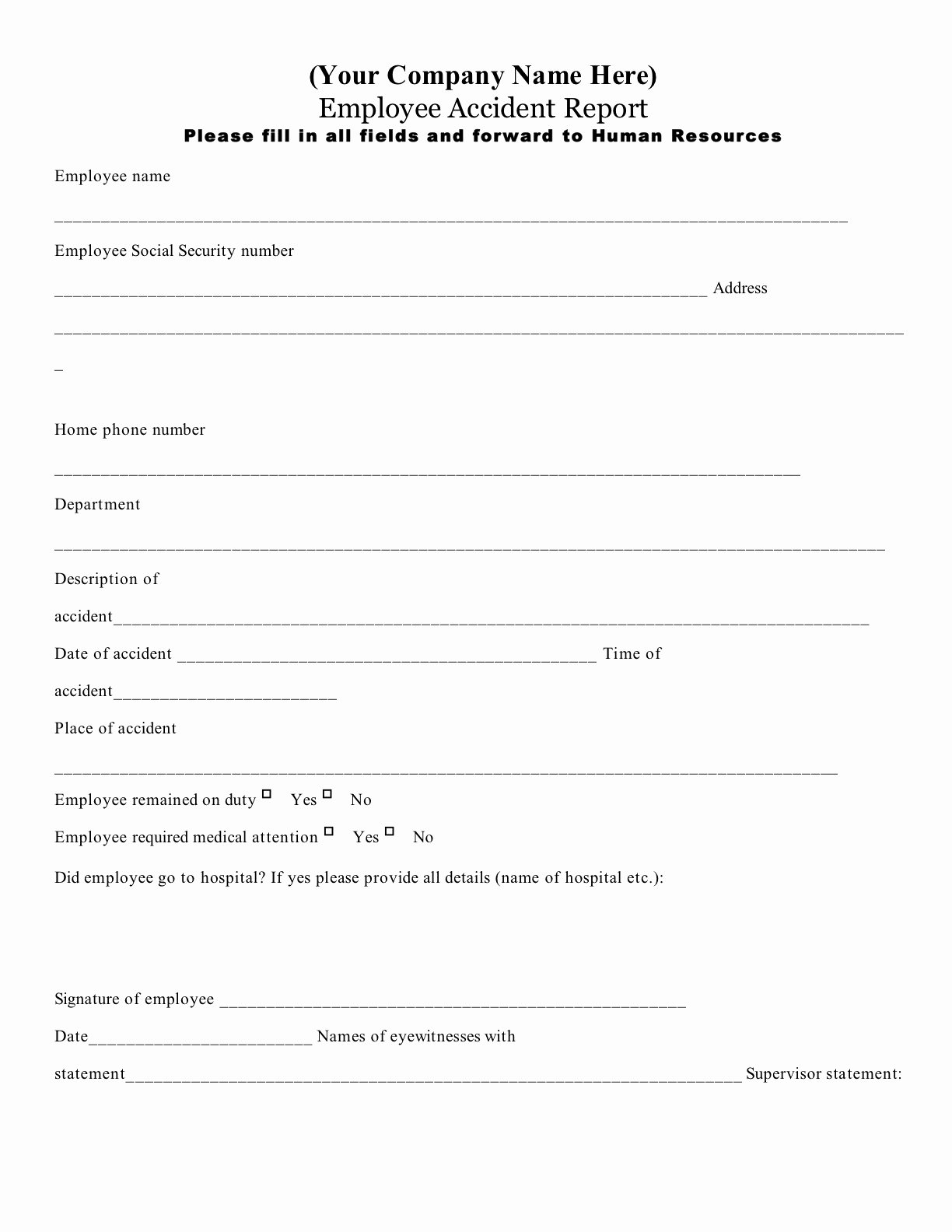 Best S Of Workplace Accident Report form Work