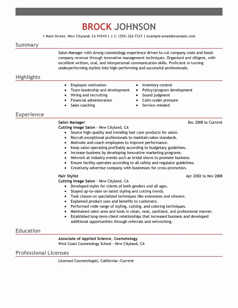 Best Salon Manager Resume Example