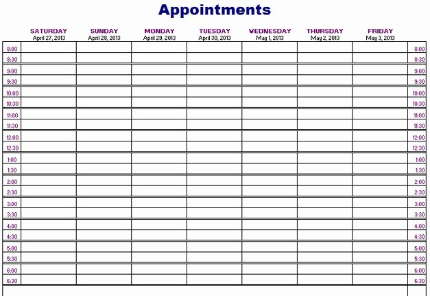 Best Sample Printable Appointment Calendar