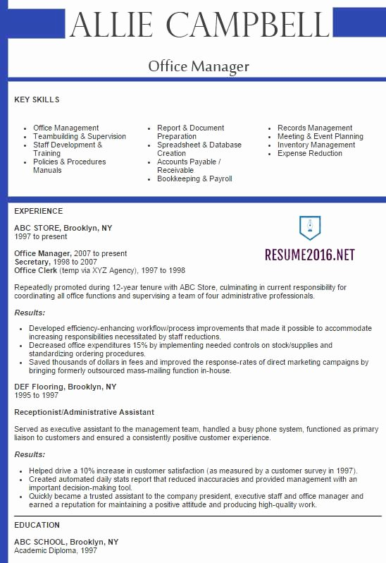Best Sample Resume 2016