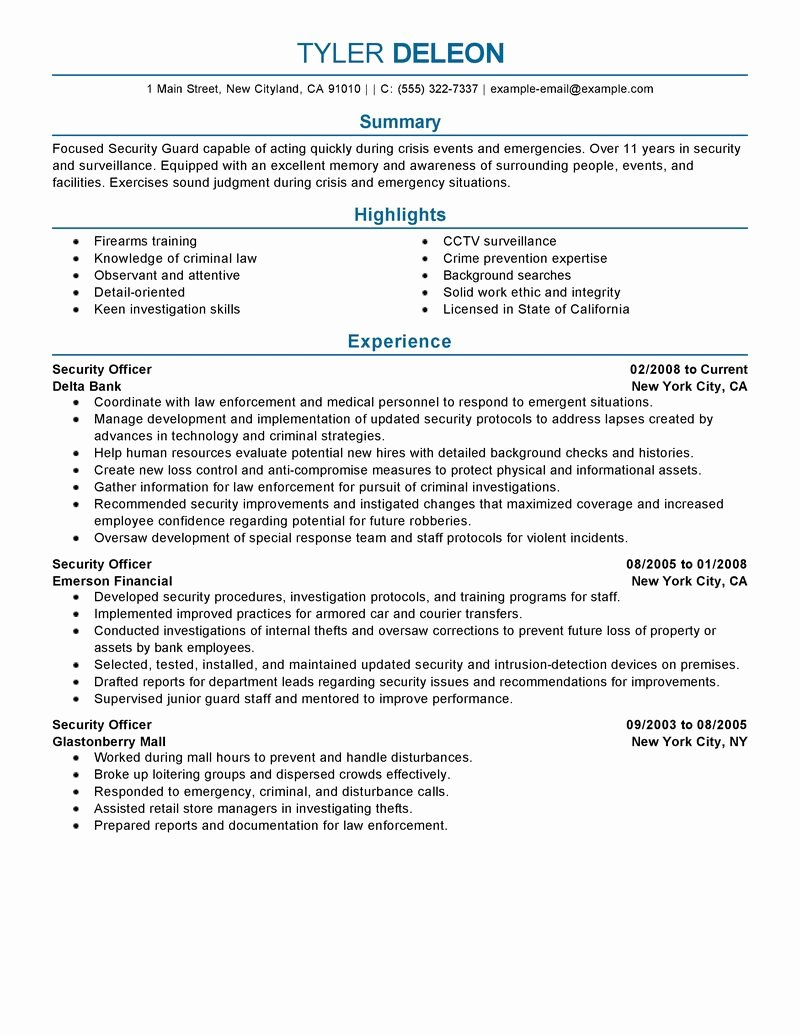 Best Security Ficer Resume Example