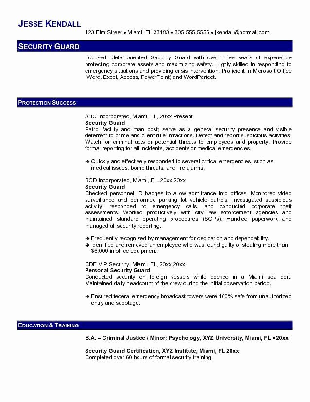 Best Security Guard Resume Sample 2019