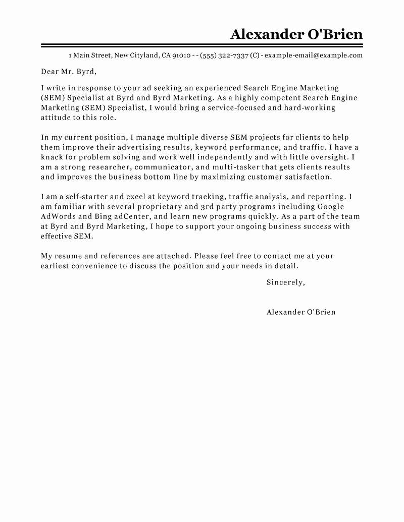 Best Sem Cover Letter Examples