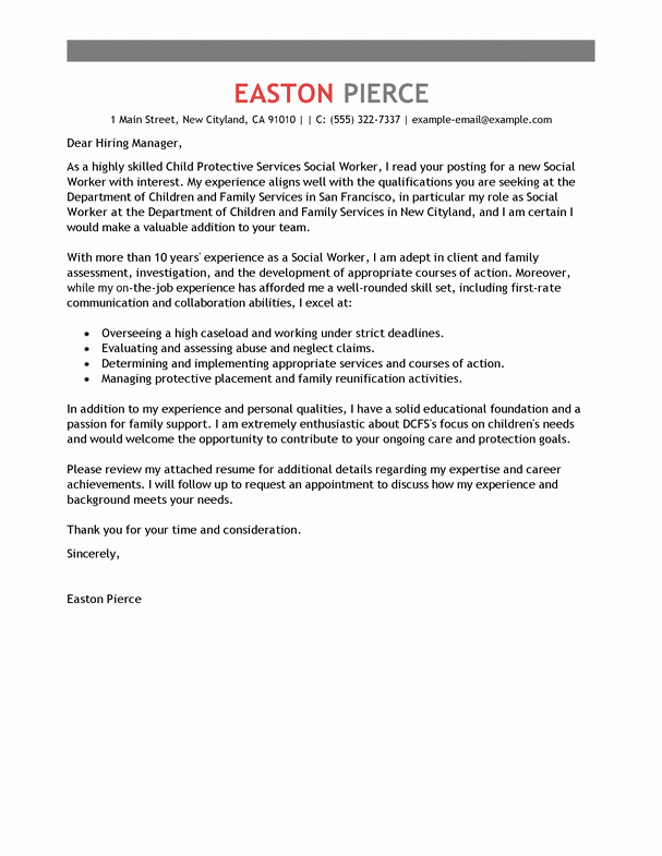 Best social Services Cover Letter Examples