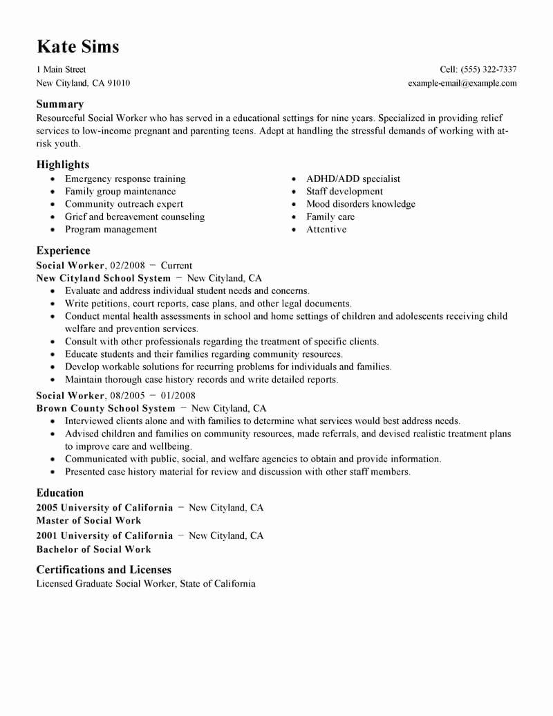 Best social Worker Resume Example