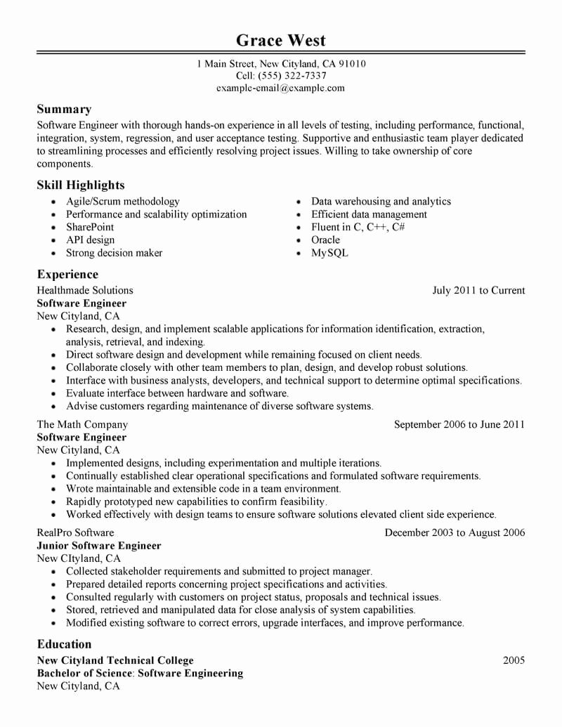 Best software Engineer Resume Example