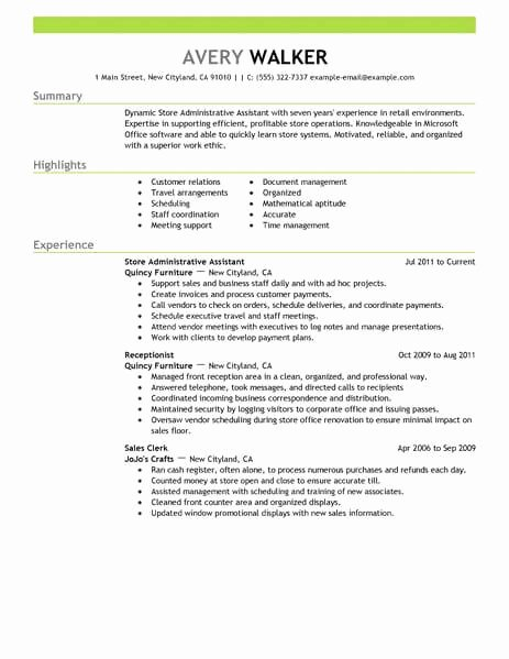 Best Store Administrative assistant Resume Example