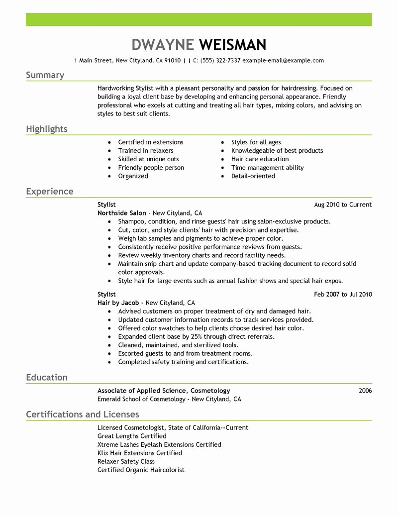 Best Stylist Resume Example
