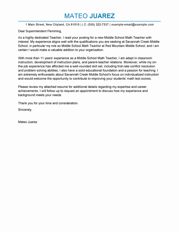 Best Teacher Cover Letter Examples